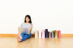 Asian woman shopping online Stock Photo
