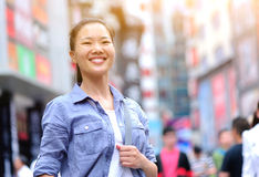 Asian woman at shopping street Stock Images