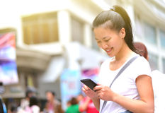 Asian woman at shopping street Royalty Free Stock Photo