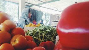 An Asian Woman shopping wearing hijab at a vegetables market. Asian Malay woman with hijab on at a vegetable market Royalty Free Stock Photos