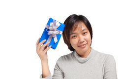 Asian woman short hair hold blue wrapped gift stock photos