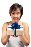 Asian woman short hair hold wrapped gift Royalty Free Stock Photo