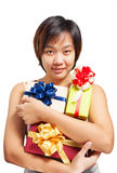 Asian woman short hair hold wrapped gift stock images