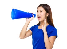 Asian woman shout with meagaphone. Isolated on white background Royalty Free Stock Photo