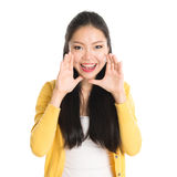 Asian woman shouting Royalty Free Stock Photography