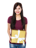 Asian woman show with big present box Royalty Free Stock Image