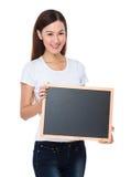Asian woman show with blackboard Stock Photos