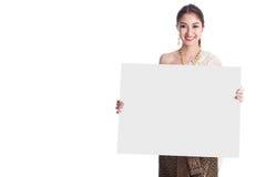 Asian woman Show blank board Stock Photo