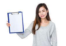 Asian woman show with blank page of clipboard. Isolated on white background Stock Photo