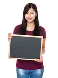Asian woman show with chalkboard Stock Photography