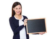 Asian woman show with chalkboard Royalty Free Stock Images