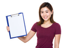 Asian woman show with clipboard Stock Images