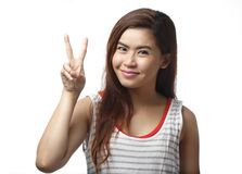 Asian woman show peace finger sign isolated Stock Images