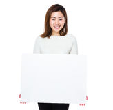 Asian woman show with placard Royalty Free Stock Photos
