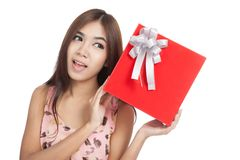 Asian woman show red gift box Royalty Free Stock Images