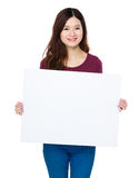 Asian woman show with white banner Stock Photography