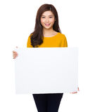 Asian woman show with white banner Royalty Free Stock Images