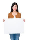 Asian woman show with white board Royalty Free Stock Photography