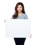 Asian woman show with white board Stock Image