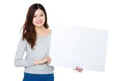 Asian woman show with white board Royalty Free Stock Photo