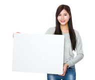Asian woman show with white board Stock Photo