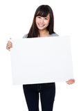 Asian woman show with white poster Royalty Free Stock Photography