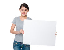 Asian woman show with white poster Royalty Free Stock Photos