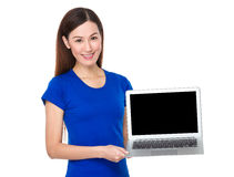Asian Woman showing blank sign of the laptop computer. Isolated on white background royalty free stock image