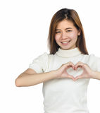 Asian woman showing heart sign . Stock Images