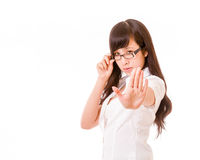 Asian woman showing no hand gesture Royalty Free Stock Images