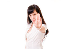 Asian woman showing no hand gesture Stock Images