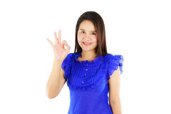 Asian woman showing ok sign isolated on white Stock Images