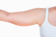 Asian woman showing upper arm Stock Photo