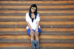 Asian woman sit and portrait on wood stairs Stock Photos