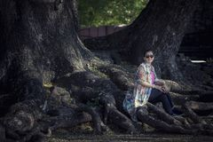 Asian woman sitting on big rain tree root in traveling destinati royalty free stock photo