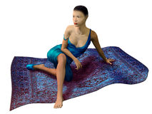 Asian woman sitting on a magic carpet Royalty Free Stock Photo