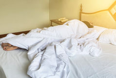 Asian woman sleeping on the bed. In the morning Royalty Free Stock Photos