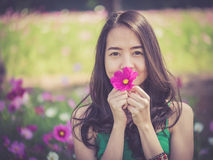 Asian woman smelling a cosmos flower Stock Images