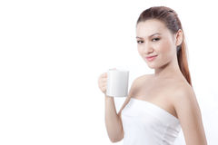 Asian woman smile before drinking Stock Photos