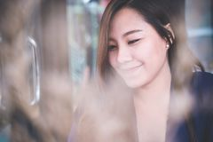 Asian woman with smiley face and feeling good , beauty fashion and lifestyle Stock Image