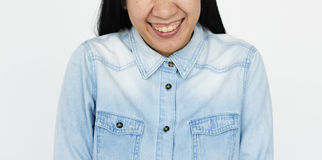 Asian Woman Smiling Portrait Half Face Concept Stock Images