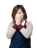 Asian woman sneeze. Isolated on white Royalty Free Stock Photo