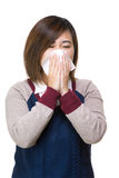 Asian woman sneeze Royalty Free Stock Image
