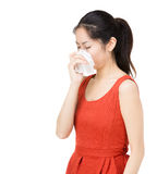 Asian woman sneeze. Isolated on white Stock Photos