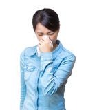 Asian woman sneeze isolated. On white Stock Photos