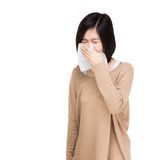 Asian woman sneeze Stock Images