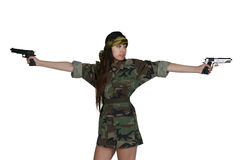Asian Woman Soldier. Beautiful young Asian woman soldier with a gun stock photos