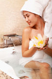 Asian woman in spa Royalty Free Stock Image