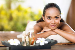Asian woman in spa salon Royalty Free Stock Photography