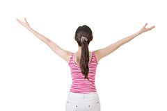 Asian woman stretch arms and feel free Royalty Free Stock Images